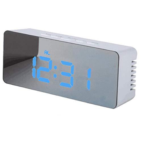 Creativa batería multifunción, enchufe, LED, espejo, pantalla digital, despertador, despertador, para dormir pesado, amanecer, despertador digital para niños