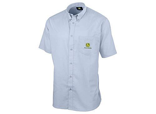 John Deere Herren Kurzarm Hemd Button-Down-Kragen (18, Hellblau)