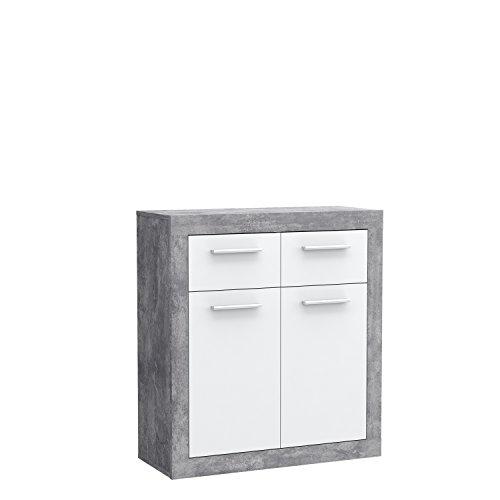 FORTE Baccio Kommode, Holz, betonoptik/weiß, 83.20 x 34 x 91.50 cm