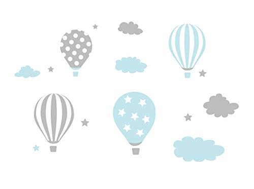 madras24 Wandtattoo heißluftballon Wandsticker für Kinder Wandtattoo Aufkleber Wandaufkleber Kind Baby Kindergarten Zimmer Luftballons Ballons Ballon Wolken Wolke Wanddeko Baby Kinder Sticker