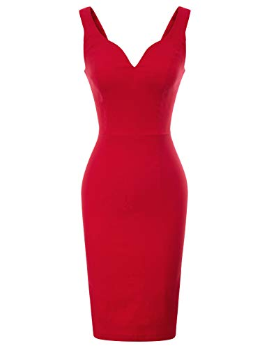 Women Vintage Sleeveless Slim Fit Bridesmaid Pencil Dress XL Red