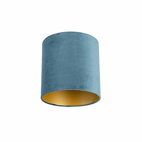 QAZQA Baumwolle Velour Lampenschirm blau 25|25|25 mit Gold | Messingener Innenseite, Rund gerade Schirm Pendelleuchte,Schirm Stehleuchte