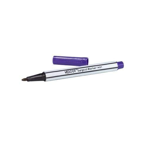 Viscot - Rotulador de piel quirúrgica para tatuajes y piercings (mini marcador de tinta tradicional, violeta genciano)
