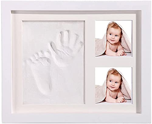 StillCool baby photo inkpad marco de fotos con huellas de manos, seguro y de moda, regalo para bebés, elegante madera maciza blanca, adecuado para regalos para recién nacidos/bebés