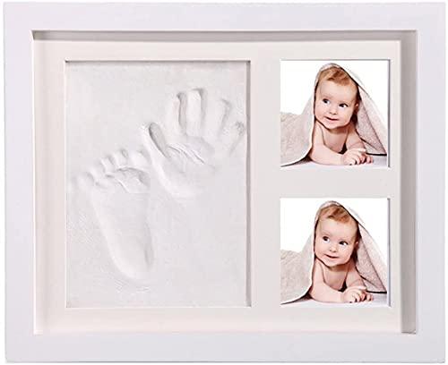 StillCool Marco para huellas de manos y tinta fotográfica para bebés, seguro y elegante, regalo para bebés, elegante madera maciza blanca, adecuado para regalos para recién nacidos/bebés