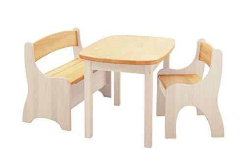 BioKinder 24789 Spar-Set Levin Kindersitzgruppe Sitzgruppe für Kinder mit Tisch, Bank und Stuhl aus Massivholz Erle und Kiefer weiß lasiert