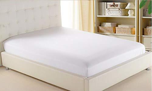 LOOMS & LEAVES Sábana Bajera Ajustable de 100% algodón Egipcio T-200 Hilos, 4 tamaños, Blanco, 2 Unidades