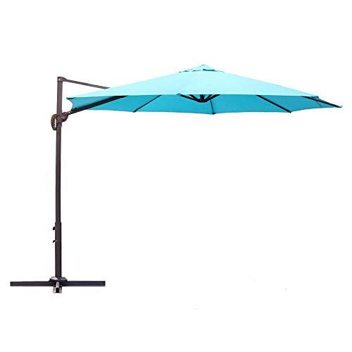 Le Papillon 10 ft Cantilever Umbrella Outdoor Offset Patio Umbrella Easy Open Lift 360 Degree Rotation, Blue