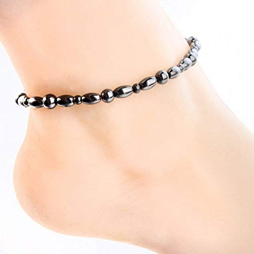 Lottoy 1/3PCS Women Men Magnetic Anklet Hematite Stone Ankle Bracelet, Health Care Black Therapy Jewelry (1PC)