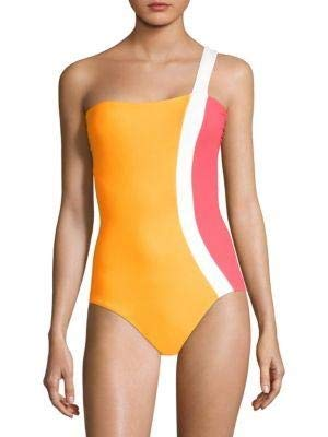Flagpole Calu One-Shoulder Swimsuit, Tangerine/Strawberry/Pearl, Medium