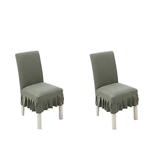 kaiyingyu Juego de 2 fundas para silla de comedor extraíbles y lavables, de forro polar grueso, plisado, elástica, para casa/hotel/ceremonia (verde)