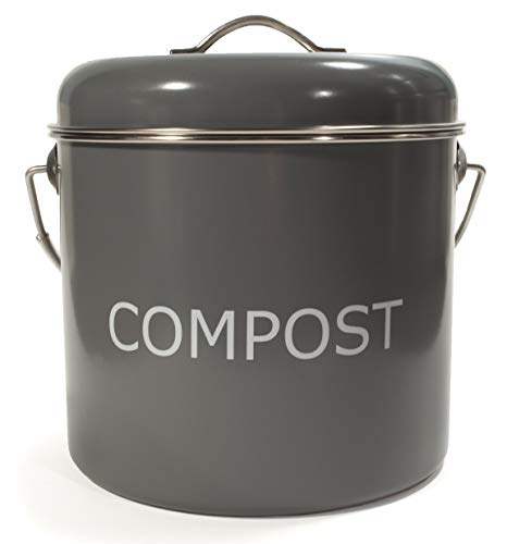 Buy Discount Kitchen Basics 5.5L/5.8Q Dark Grey Stainless Steel Compost Bin with Charcoal Filter for...