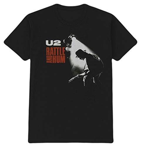Rockoff Trade U2 - Camiseta de Manga Corta para Mujer, Color Negro, Blanco y Rojo Negro Negro (Medium