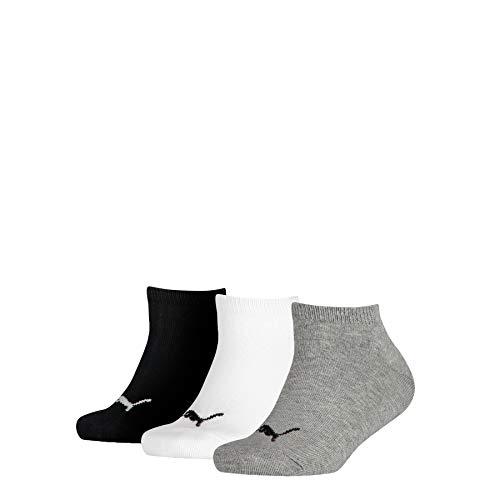 PUMA Jungen Invisible 3p Sportsocken, Grau (Grey/White/Black 803), One Size (Herstellergröße: 23/36) (3er Pack)