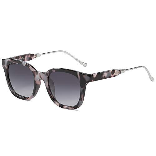 SOJOS Classic Square Polarized Sunglasses Unisex UV400 Mirrored Glasses SJ2050 with Black Tortoise Frame/Gradient Grey Lens