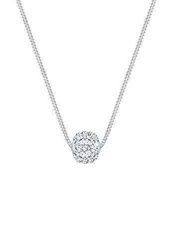 Elli Halskette Elli Damen Halskette mit Kugel in 925 Sterling Silber Kristalle 45 cm lang