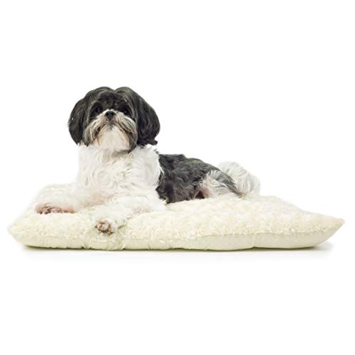 Furhaven Pet Dog Bed Kennel Pad - Ultra Plush Curly Faux Fur Crate or Kennel Mat Tufted Pillow Cushion Pet Bed for Dogs and Cats, Latte, Small