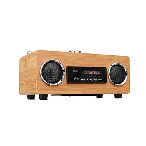 Radio retro de madera, mando a distancia, altavoz Bluetooth inalámbrico portátil con tarjeta TF/aux MP3 reproductor de carga, apto para exteriores, caminar (madera)
