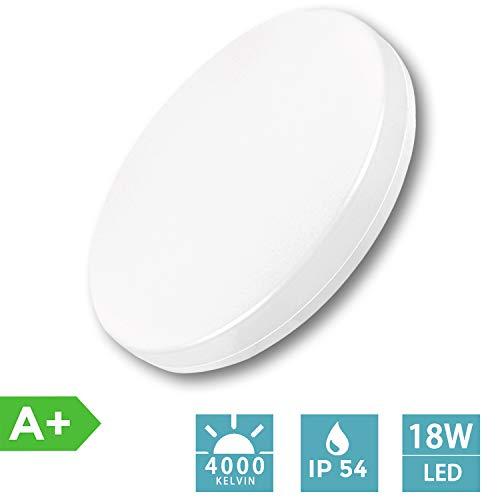 AGOTD LED Deckenleuchte 18W 4000K 2400lm neutralweisse Badezimmerleuchte, Ø28cm Deckenlampe, IP54 Wasserfest Badlampe, ideal für Badezimmer Balkon Flur Küche Wohnzimmerezimmerleuchte