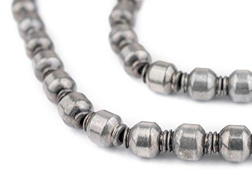 TheBeadChest Silver Prayer 9x7mm Beads, Full Strand of Metal Spacers for DIY Jewelry Design
