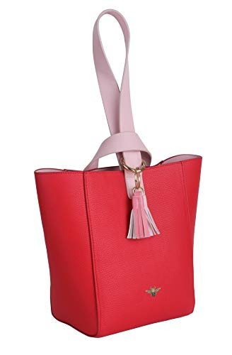 FMG , Damen Henkeltasche Medium, Rot - rot - Größe: Medium