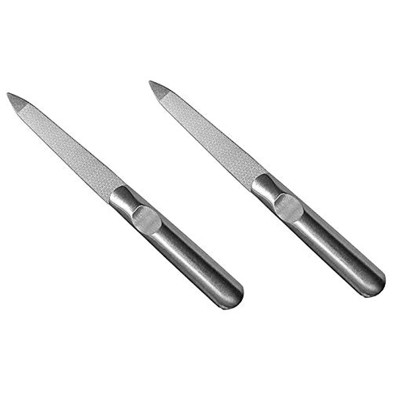 外側素晴らしさ検出可能Semoic 2個 ステンレススチール ネイルファイル 両面マット アーマー美容ツール Yangjiang爪 腐食の防止鎧