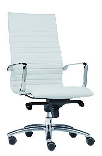 SITWELL Design Gesundheitsdrehstuhl mit weißem Bonded Leder und Armlehnen