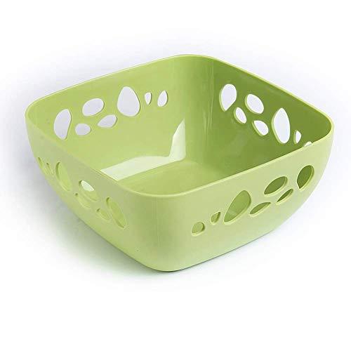 Cuencos de almacenamiento para el hogar Bowls Fruta Cesta de frutas Cuencos de frutas Placa de refrigerio Gran Cesta de desagüe hueco Cesta de plástico Cesta de comida rosa hiohua ( Color : Green )