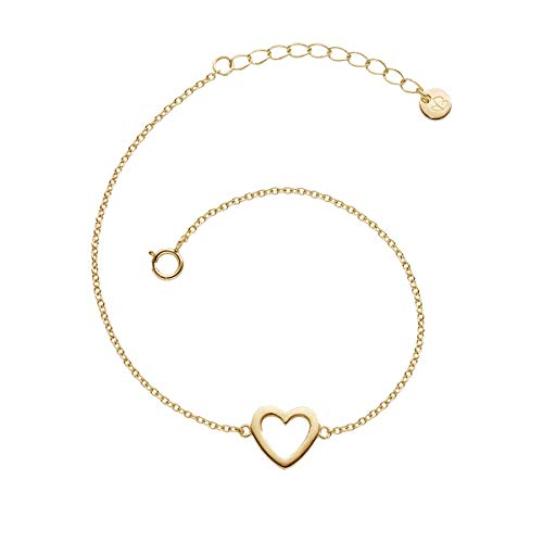 Glanzstücke München Damen-Armband mit Herz-Anhänger Sterling Silber 925 gelbvergoldet - Herz-Armband in Gelbgold-Farben