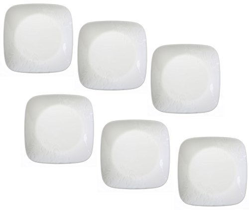 Corelle Boutique Cherish 6.5 Square Bread or Desert Plate (Set of 6) by CORELLE