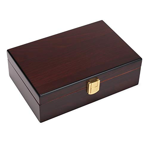 Woodronic Handmade Cigar Humidor with Spanish Cedar Lining, Desktop Cigar Box Gift Set with Clasp Lock and Cigar Accessories, Walnut Finish