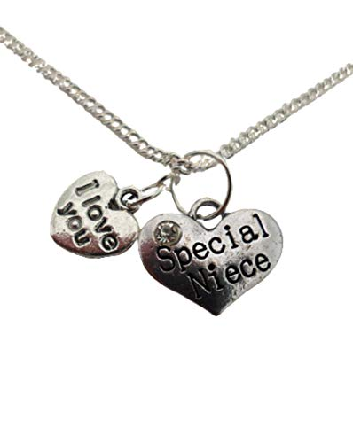 Silver Necklace Special Niece Love Heart Gem Charm Pendant
