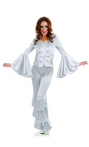 Fun Shack Disfraz de reina de discoteca plateada para adultos de los años 70, talla mediana