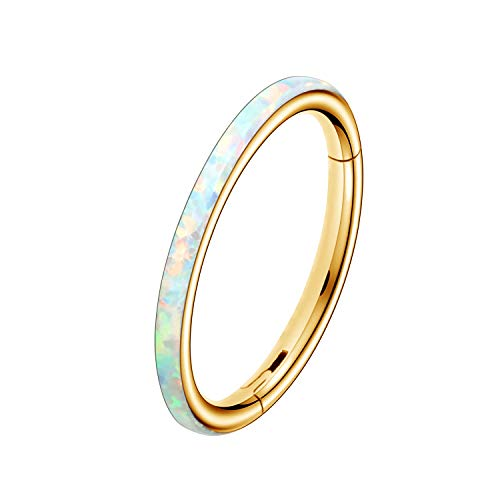OUFER Nose Rings Septum 16G 316L Surgical Steel Hinged Segment Clicker Opal Cartilage Earrings Hoop Helix Tragus Daith Piercing Jewellery White Opal#1 Gold 8mm
