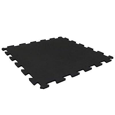 "Playsafer Genaflex Lock 8mm Laminated Rubber Gym Tiles (20"" X 20"") Super Durable Interlocking Protective Exercise Flooring (200 Tiles - 20"" X 20"" - 540 Sq. Ft, Black)"