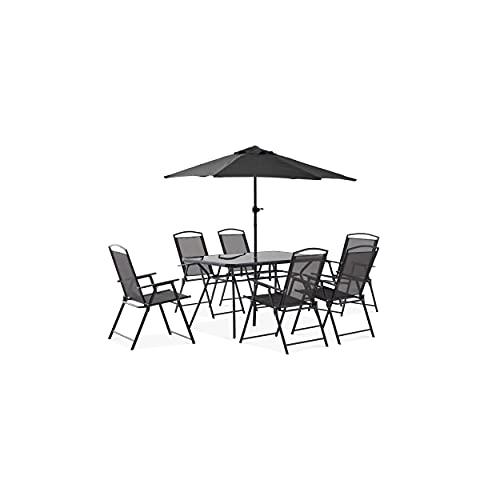 Oviala Table de Jardin et Parasol Gris Rectangulaire 140 x 80 x 70 cm Acier 6 Places Bormes
