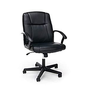 OFM Essentials Collection Executive Office Chair, Bonded Leather, in Black from basyx by HON