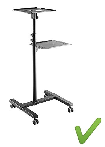 Systafex praktische mobiele beamer projector notebook beamer laptop tafel staander rolwagen mediawagen beamer stabiel in hoogte verstelbaar kantelbaar