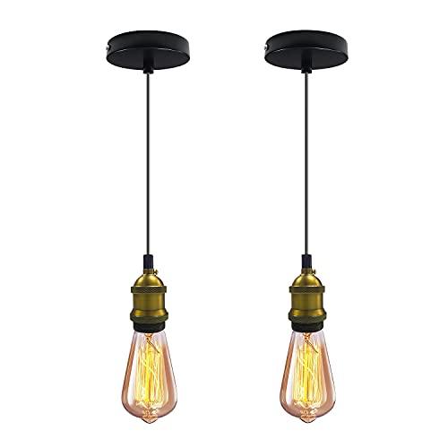 Lámpara Colgante Vintage 2 Piezas Portalámparas Colgante E27 Edison, Lámpara de Techo con Cable Ajustable 150cm, para Retro Accesorios de La Lámpara DIY