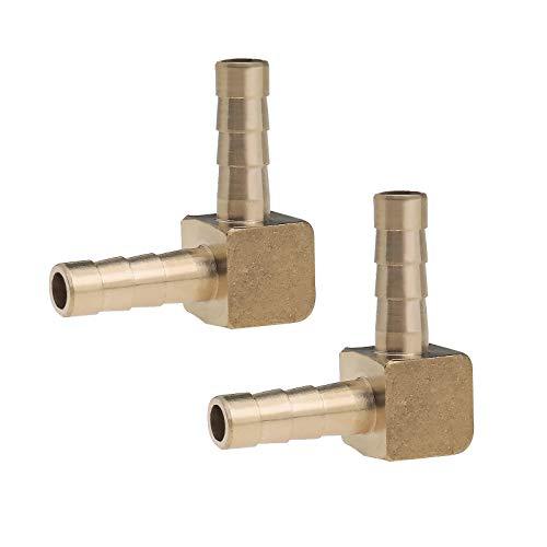 YINETTECH 2 Stück 6 mm Bart aus Messing Schlauchverbinder 90 Grad Winkel Kraftstoff Anschluss Adapter 1/4 Zoll kompatibel für Luft Wasser Öl Öl