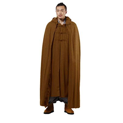 KATUO Uomo editation buddista cappotto mantello incappucciato in pile di lana invernale XL Marrone