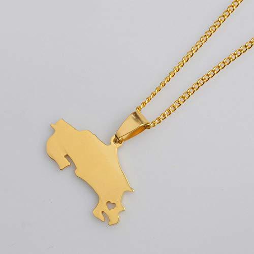 ASDWA Map Necklace,Vintage Gold Farbe Costa Rica Weltkarte Anhänger Charm Halskette Ethnischer Amulett Schmuck Männer Frauen Geschenke Vatertagsgeschenk