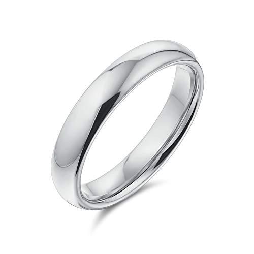 Minimalista simple simple 925 plata esterlina domo parejas alianzas anillo de boda para las mujeres para los hombres 4MM