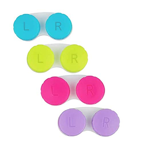 3 Pack Contact Lens Cases Holder Box Left/Right Eyes - 3 Colours