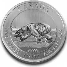 1,5 oz Unze Unzen Polarbär Eisbär KANADA/CANADA Silbermünze