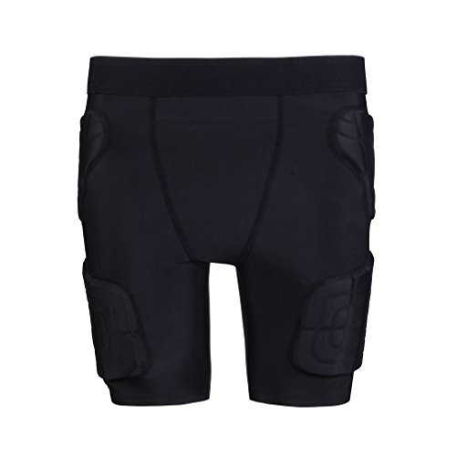 Kids Padded Shorts Protective Underwear Hip Butt Pad Compression Shorts for Football,Basketball,Bike,Soccer,Volleyball,Rugby,Paintball,Cycling,Skate,Snowboard,Ski,Hockey Size YM Black