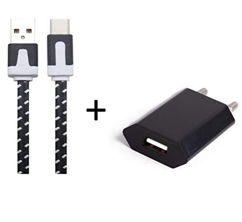 Shot Case Cargador Adaptador USB para Alcatel Pop 4Plus Smartphone/Tablet, Color Blanco/Rojo