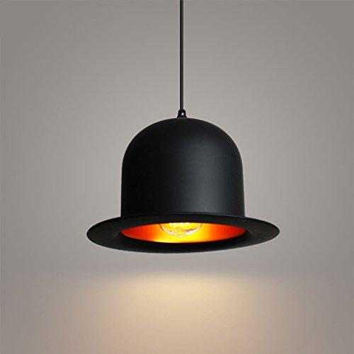 Kronleuchter LQ Kreative Aluminium Schwarz Bowler Hut Einzelkopf Restaurant Bar Moderne Einfache Dekoration Deckenleuchte Lampe E27