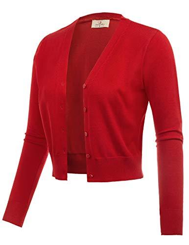Long Sleeve Cropped Bolero Shrug Sweater Red Size XL CL2000-4