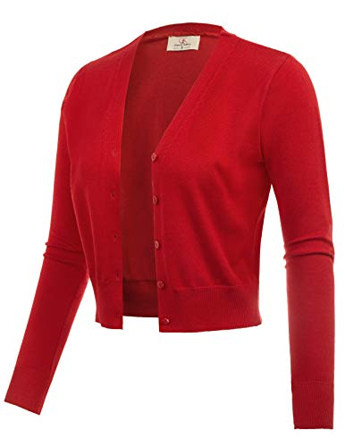 Cotton Open Front Bolero Jacket Sweater for Dress Red Size XXL CL2000-4